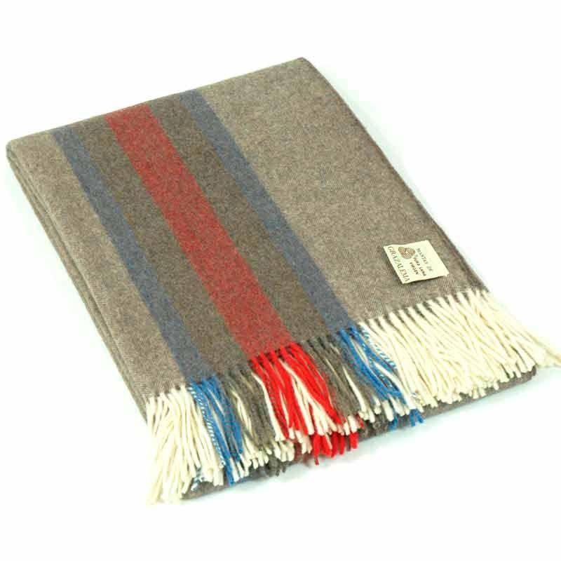 Wool Stripes Mink Throw