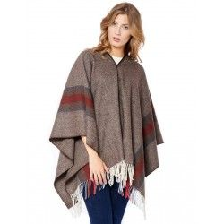 Stripes Brown Poncho