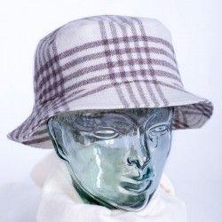 White Check Round Cap